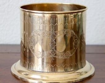 Brass Planter - Brass Pedestal - Brass Pot - Solid Brass Planter - Solid Brass Pedestal - Floral Etched Brass - Indian Brass Planter - Plant