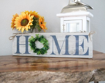 HOME Sign w/Boxwood Wreath, Mini-Home Sign, Home Sign with Boxwood Wreath, Rustic Home Sign, Small Home Sign, Reclaimed Wood