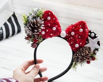New Year Headband Christmas headband Minnie headband christmas Minnie hair accessories New Year Hair accessories Holiday headband