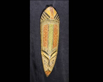 Carved Ghanaian Leafhopper mask - Tribal, and Bohemian inspired with metal inlay - Hand carved in Ghana, West Africa - 1.5 feet tall