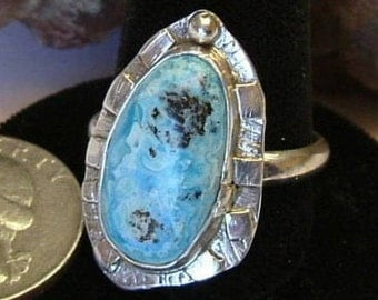 Turquoise Ring Sterling Silver Natural Large Gem Size 11 1/2 Large Chunky Statement Ring Ocean Island Sky Blue Black Boho Ring   107G