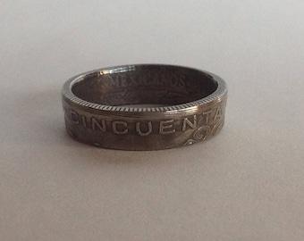 Mexican Cinquenta Centavos Coin Ring........ Size 10