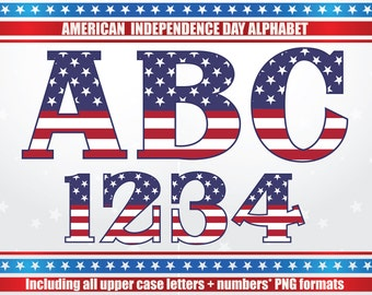 American Alphabet, Independence Day Alphabet, 4th of July Alphabet, American Letters, Independence Day Letters, USA Alphabet