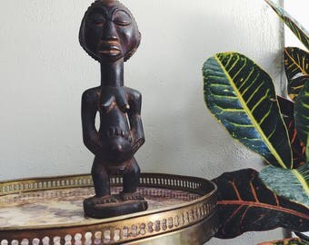 carved wood woman / vintage African art / wood statue / African mother