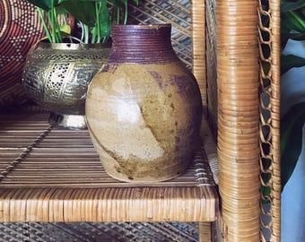 unique vase / vintage vase / hand-thrown / tan vase / large vase / brown vase / unique pottery