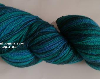 Kauni Wool Yarn Kauni AQUA 2 ply Estonian wool artistic yarn kauni effektgarn sock yarn hand dyed yarn Knitting art wool