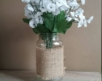 Burlap Wrapped Clear Glass Mason Jar. Rustic Chic Barn Wedding Centerpiece and Home Decor. Candle holder, flower vase, trendy storage