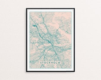 Stockholm Blush Pink City Map Print, Clean Contemporary poster fit for Ikea frame 50x70cm, gift art him her, Anniversary personalized