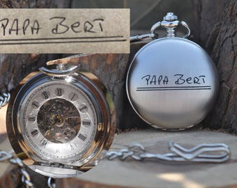 Handwriting, Custom, Mechanical Pocket Watch, Hand Wind-up, Engraved Pocket Watch, Personalized, Handwritten, Double Sided, écriture