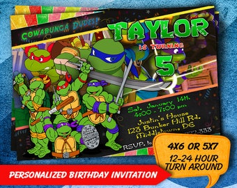 Ninja Turtle invitation, TMNT Invitation, Teenage Mutant Ninja Turtle Invitation, Ninja Turtle Birthday Invitation, TMNT, TMNT Party