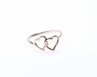 10K Yellow Gold and Diamond Heart Ring