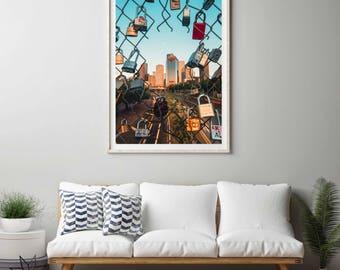 Houston Cityscape photography print. Houston skyline photograph. Large, vertical, wall art photography print.