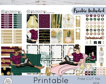 Cozy Chic printable planner stickers. Erin Condren and Happy Planner weekly kit. Girls marble cactus pineapple chandelier elegant glam Fall