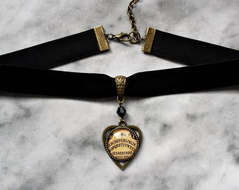 necklace choker velvet ouija board planchette cameo bronze gothic occult pagan esoteric spiritism wicca magic witch witchcraft witchy dark