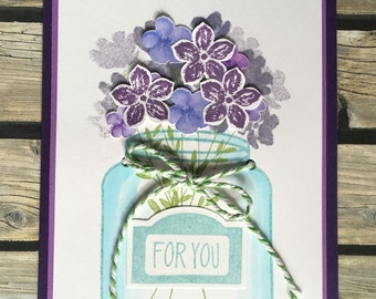 Purple Bouquet in a Mason Jar Any Occasion Greeting Card