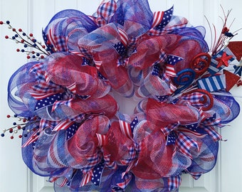 On sale for a limited time! Patriotic deco mesh wreath, red white and blue wreath, 4th of July wreath, stars and stripes, Independence Day