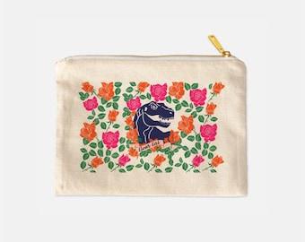 Dinosaur Cosmetic Bag, Dinosaur Makeup Bag, Clever Girl Bag, Tumblr Aesthetic, Makeup Travel Bag, Cotton Canvas Bag, Cute Makeup Bag 9.5 x 7