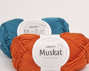 DROPS Muskat, Cotton yarn, Amigurumi yarn, Crochet yarn, Summer yarn, Crochet cotton yarn, Soft cotton yarn, Knitting cotton yarn, baby yarn