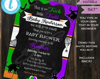Halloween Baby Shower Invitation Baby Sprinkle Invite - Costume Party - Spooky Fall Leaf Pumpkin- Custom Printable INSTANT Self EDITABLE 5x7