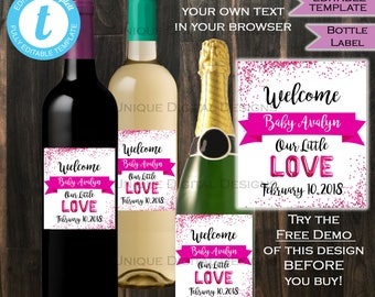 Valentines Day Baby Shower Wine Bottle Label Wrap Welcome LOVE Baby Sprinkle Pink Baby Girl Sip & See Custom Printable INSTANT Self-EDITABLE