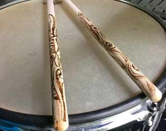 Personalized drumsticks - personalized drum sticks - gift for drummer - drumstick art - hand percussion - drum stick gifts - drumsticks