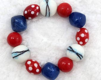 Glass bead Patriotic Americana red white and blue bracelet