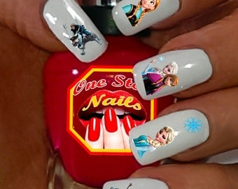 Frozen nail art etsy christmas disney frozen nail art decals nail art decals clear waterslide nail decals dfr prinsesfo Images