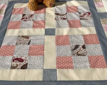 Baby blanket, patchwork blanket, minky, peach and grey blanket, christening present, free shipping