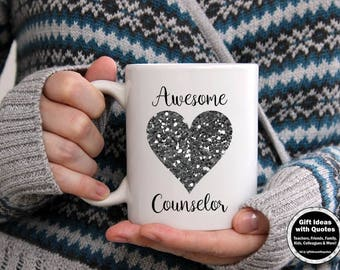 School Counselor Coffee Cup, Counselor Appreciation Week School Counselor Mug with Heart, Christmas Gift, Back to School Counselor Gift Idea