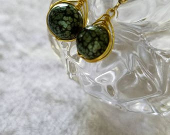 Golden Dragon's Eye Earrings, Green and Gold Earrings, Small Earrings, Gold Wire, Green Beads, Dainty Earrings