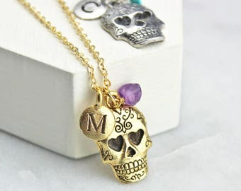 Sugar Skull Necklace - Personalised - 16th - 18th - 21st - 30th - Birthday - March Birthstone - Gift for her
