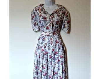 Vintage 70s Floral Dress Double Breasted Belted  - Size L, 1970s Flowers, Ann Arnold 16, Sixteen V Neck, Shawl Collar, Mididress Midi