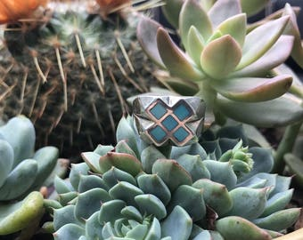 Sterling Silver and Crushed Turquoise Ring Size 5.5