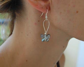 Earrings silver butterfly quartz shiny gray