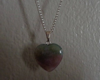 Gray Purple Stone Heart Necklace 18 inches silver chain