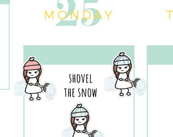 Shoveling Planner Stickers, Snow Planner Stickers, Winter Planner Stickers, Snow Storm Planner Stickers