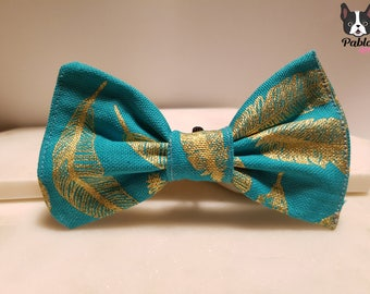 Turquoise Teal || Blue Green ||  Cat or Dog BOW TIE || Attach on Collar ||  in 'Gold Leaf' Made by Pablo Pets || French Bulldog