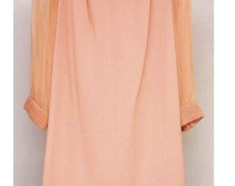 1960s  pink shift dress sz S-M