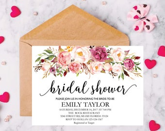Bridal Shower Invitation, Printable Bridal Shower, Boho Bridal Shower, Instant Digital Download File, Flower Bride DIY, Fun Bridal Shower 5