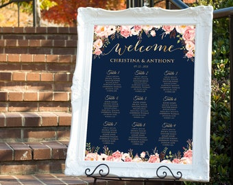 Wedding seating chart template, Wedding seating chart poster, Wedding Seating Chart, Navy seating chart, Seating chart, Chart Poster, SC#169