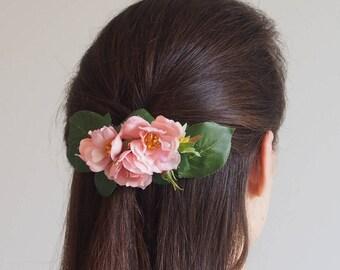 wedding hair clip, pastel flower clip, bridal hair clip, floral hair clip, rosebud hair clip, pink roses flower hair clip