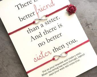 Sister bracelet set, Sister friend, Wish bracelet, Sister gift, Sister quotes, Friendship bracelet, Best friend gift, Sister card,  A27