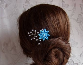 Hair stick for wedding satin and pearls/Barrette way vine of hair with hair stick/kanzashi flower blue and white