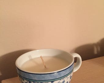 Blue Leaf Pattern Teacup Candle