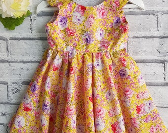 Baby Dress, Toddler Dress, Floral baby dress, Dress Up Baby, Baby Dress, Yellow Floral Dress,  Summer Dress, READY TO SHIP, 6-12 months,