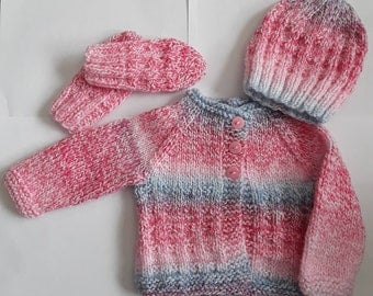 Knitted Baby Cardigan And Hat And Gloves, Baby Clothes, Baby Gift, Baby Girl Clothes