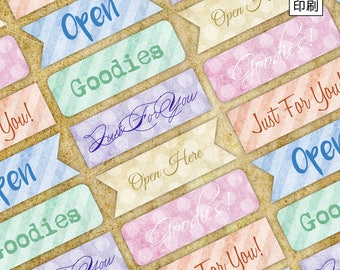 Printable Cute message label Set for wrapping paper crafting digital collage sheet instant download open me goodies sealing sticker - S002