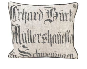 Antique German Grain Sack Pillow from 1861  -  20 x 18""