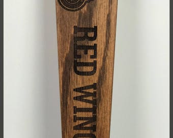 Detroit Red Wings Solid Oak Engraved Tap Handle