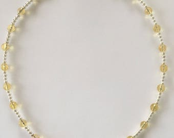Sterling silver and citrine choker necklace w crytstal pendant